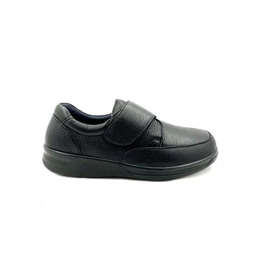 GRUNWALD MENS WATERPROOF VELCRO SHOE - BLACK LEATHER