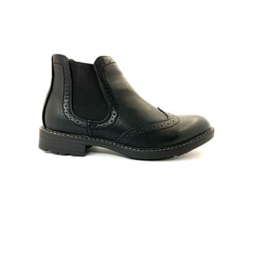 BYRON MENS GUSSET SLIP ON ANKLE BOOT - BLACK