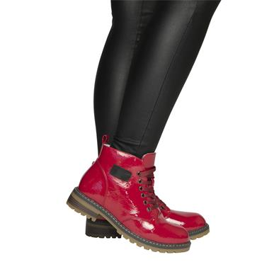 DRILLEYS WOMENS 6 EYE LACE ANKLE BOOT - RED PATENT