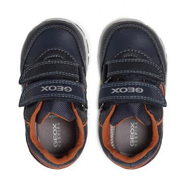 GEOX BOYS 2 VELCRO STRAP TRAINER - NAVY ORANGE