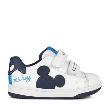 GEOX BOYS DISNEY VELCRO STRAP TRAINER - WHITE NAVY