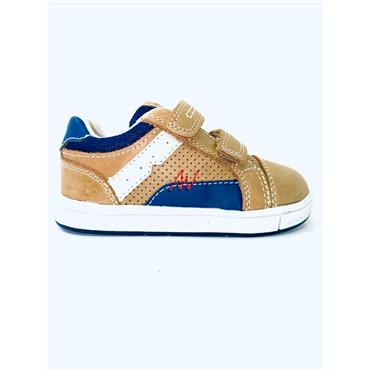 GEOX BOYS 2 VELCRO STRAP TRAINER - TAN NAVY