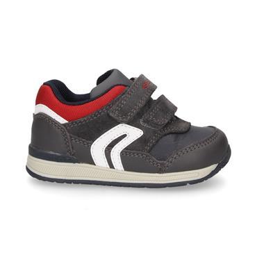 GEOX BOYS 2 VEL STRAP RUNNER - GREY RED