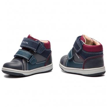 GEOX BOYS 2 VELCRO STRAP ANKLE BOOT - NAVY GREY