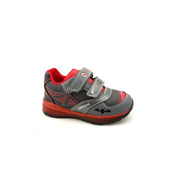 GEOX BOYS 2 VEL STRAP RUNNER - GREY RED