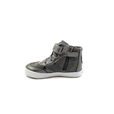 GEOX GIRLS VELCRO LACE ANKLE BOOT - DARK GREY