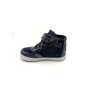 GEOX GIRLS VELCRO LACE ANKLE BOOT - NAVY