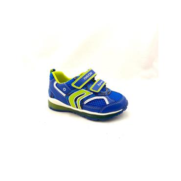 GEOX BOYS 2 VEL STRAP LIGHTS RUNNER - BLUE LIME