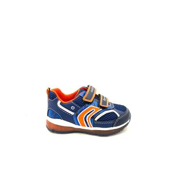 GEOX BOYS 2 VEL STRAP LIGHTS RUNNER - NAVY ORANGE