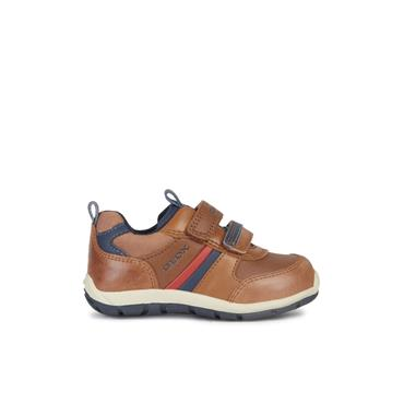 GEOX BOYS 2 VEL STRAP SHOE - TAN NAVY