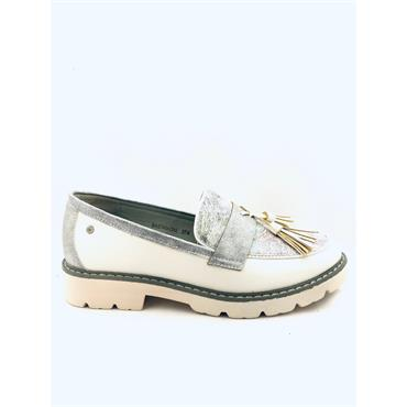 ZANNI WOMENS SLIP ON TASSEL LOAFER - WHITE MULTI