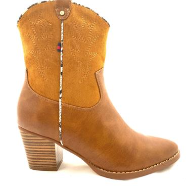 ESCAPE LDS BLOCK HEEL ZIP COWBOY BOOT - TAN