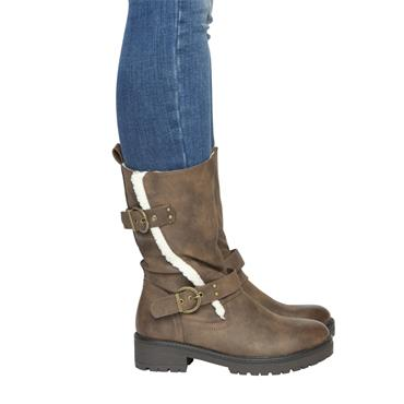 H FEET WOMENS BUCKLE STRAP FURLINED BOOT - BROWN