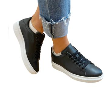 OLIVER FUREY WOMENS LACE TRAINER - BLACK LEATHER