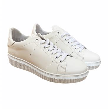 OLIVER FUREY WOMENS LACE TRAINER - WHITE LEATHER