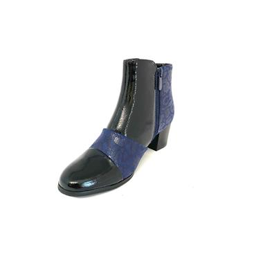 NINE TO FIVE LDS 2 TONE ZIP ANKLE BOOT - NAVY