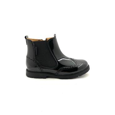 STARTRITE GIRLS F FIT ZIP GUSSET BOOT - BLACK PATENT