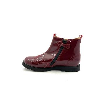 STARTRITE GIRLS F FIT ZIP GUSSET BOOT - WINE PATENT