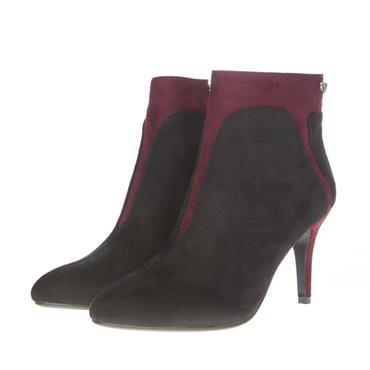 SUSST WOMENS 2TONE ZIP ANKLE BOOT - BLACK BURGUNDY