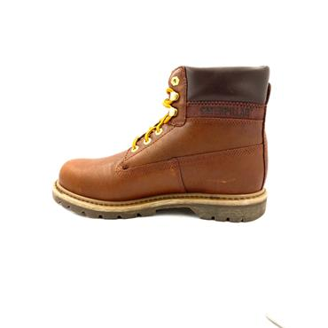 CATERPILLAR MENS PADDED COLLAR LACE BOOT - BROWN LEATHER