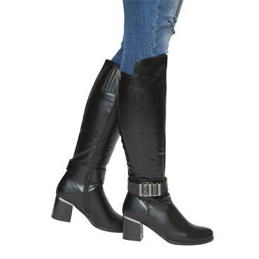 SUSST WOMENS STRAP HIGH LEG BOOT - BLACK
