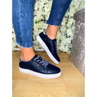 REDZ WOMENS LACE TRAINER - NAVY