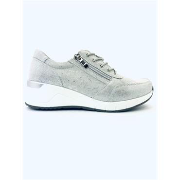 REDZ WOMENS LACE ZIP TRAINER - SILVER