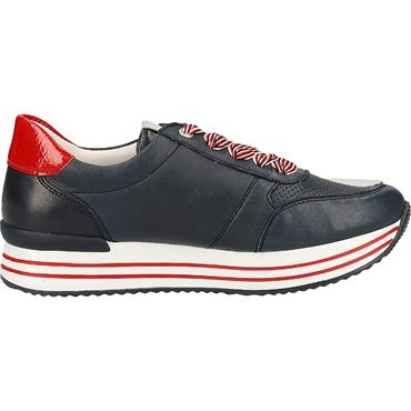 REMONTE WOMENS LACE TRAINER - NAVY RED