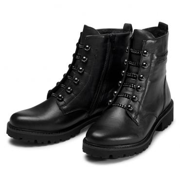 REMONTE WOMENS ZIP CHAIN TIE ANKLE BOOT - BLACK