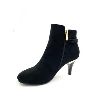 SUSST LDS DIAMANTE STRAP ZIP ANKLE BOOT - BLACK SUEDE
