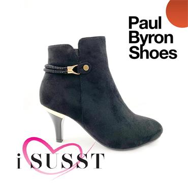 SUSST WOMENS STRAP ZIP ANKLE BOOT - BLACK SUEDE