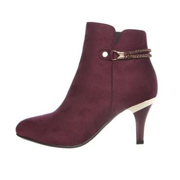 SUSST WOMENS STRAP ZIP ANKLE BOOT - BURGUNDY SUEDE