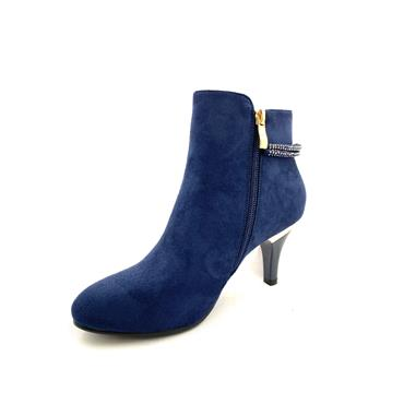 SUSST LDS DIAMANTE STRAP ZIP ANKLE BOOT - NAVY SUEDE