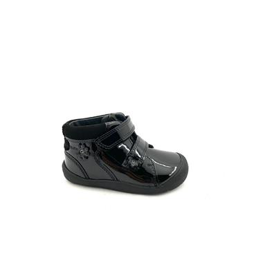 STARTRITE GIRLS F FIT VELCRO STRAP BOOT - BLACK PATENT