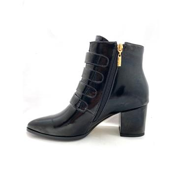 KATE APPLEBY LDS 4 STRAP ZIP ANKLE BOOT - BLACK PATENT
