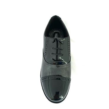 NINE TO FIVE LDS 2 TONE T/CAP TIE SHOE - BLACK GREY
