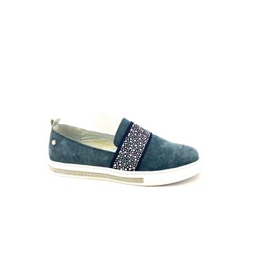 PATRIZIO LDS WEDGE DIAMANTE SLIP ON SHOE - NAVY