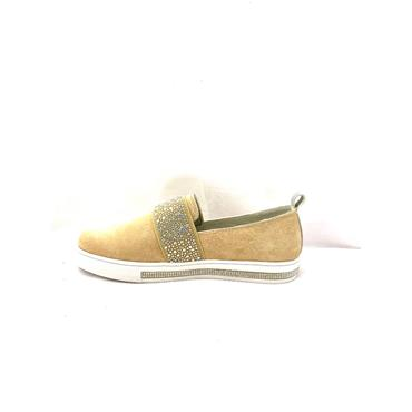 REDZ WOMENS FLAT DIAMANTE SLIP ON SHOE - BEIGE