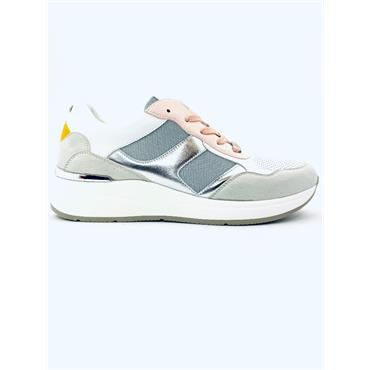 TOMMY BOWE WOMENS WEDGE LACE TRAINER - WHITE MULTI