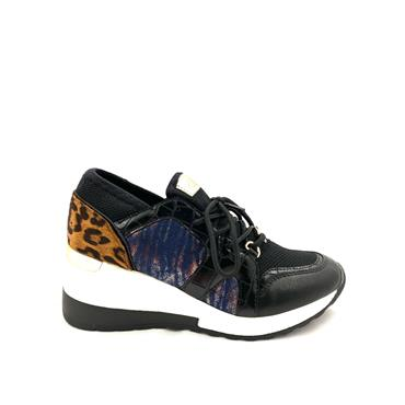 TOMMY BOWE LDS WEDGE LEOPARD TIE RETRO - BLACK MULTI