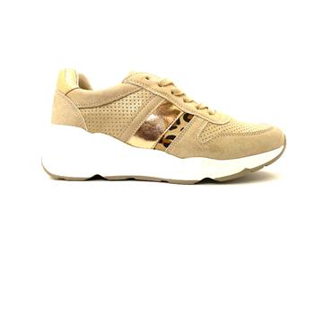 HANNAH B WOMENS WEDGE LACE TRAINER - GOLD