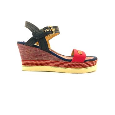 HANNAH B LDS WEDGE ANKLE STRAP SANDAL - RED NAVY