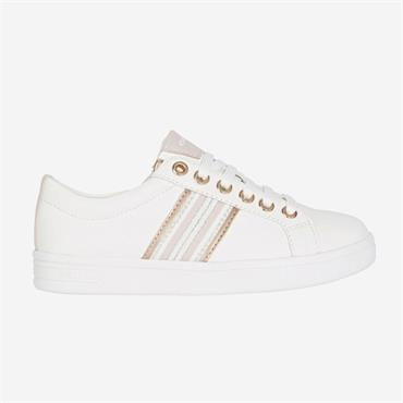 GEOX GIRLS LACE ZIP TRAINER - WHITE ROSE
