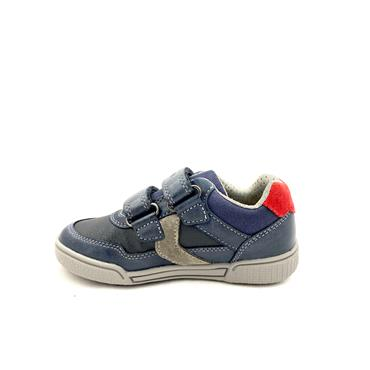 GEOX BOYS 2 VEL STRAP RUNNER - NAVY GREY