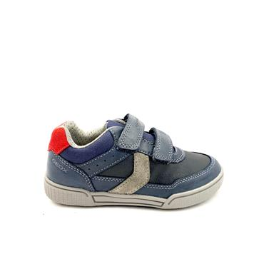 GEOX BOYS 2 VELCRO STRAP TRAINER - NAVY GREY