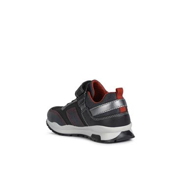 GEOX BOYS VELCRO LACE TRAINER - BLACK RED