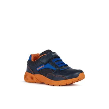 GEOX BOYS VELCRO LACE RUNNER - NAVY ORANGE