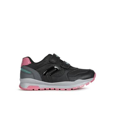 GEOX GIRLS 2 VEL STRAP RUNNER - BLACK GREY