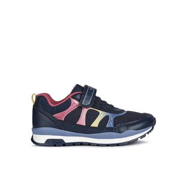 GEOX GIRLS VELCRO LACE TRAINER - NAVY MULTI