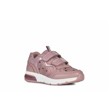 GEOX GIRLS 2 VELCRO STRAP TRAINER - DARK ROSE